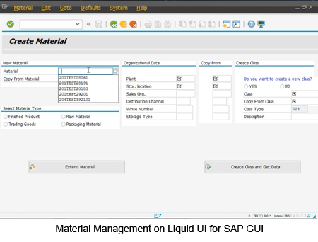 Material Management on Liquid UI for SAP GUI