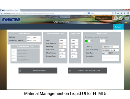 Material Management on Liquid UI for HTML5