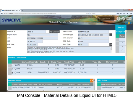 MM Console - Material Details on Web Screen