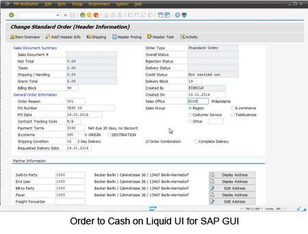 Order to Cash on Liquid UI for SAP GUI