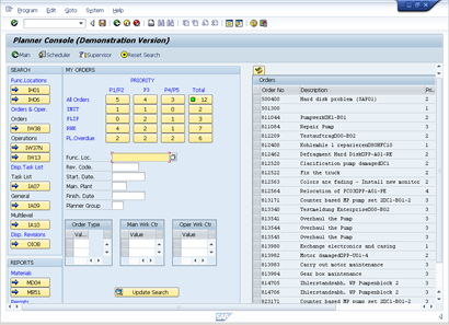 Plant Maintenance Planning and Scheduling Console Planner Screen