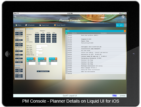 PM Console - Planner Details iOS Screen