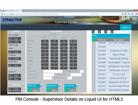 PM Console - Supervisor Details HTML5 Screen