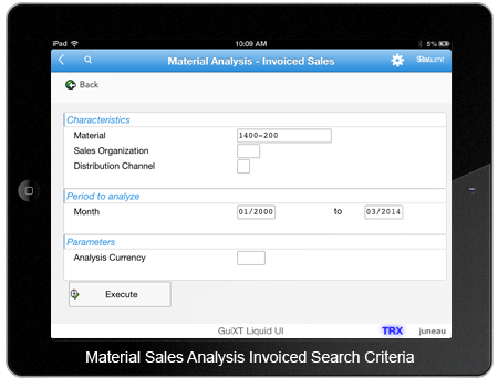 Material Analysis Invoiced Sales Search Criteria