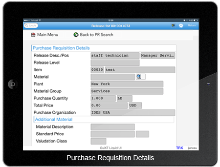 Purchase Requisition Details Screen