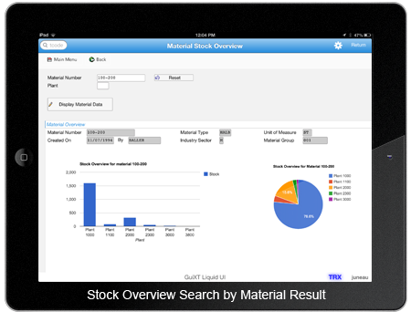 Stock Overview Search by Material Result
