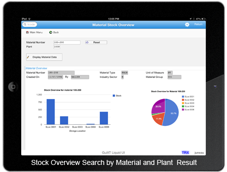 Stock Overview Search by Material and Plant Result