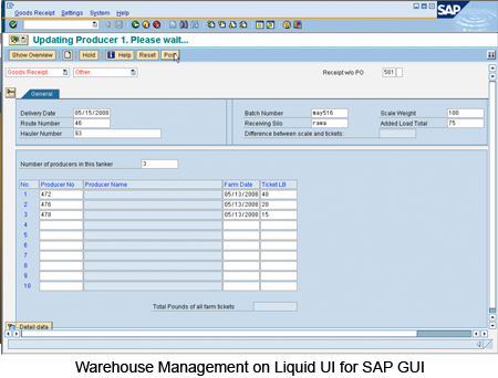 Warehouse Management on Liquid UI for SAP GUI