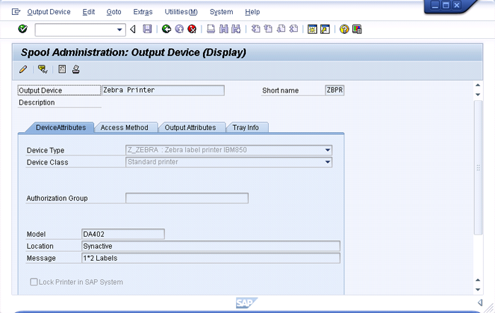 how to change printer settings in sap