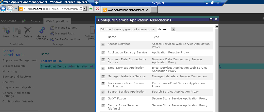 Assigning an Application Service